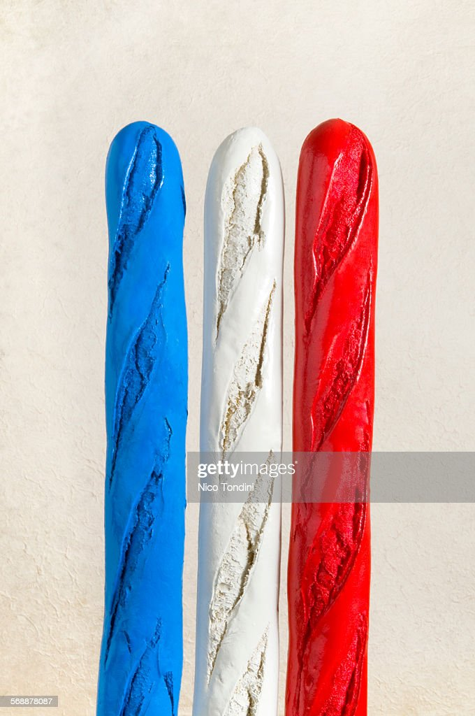 French baguette in the form of a flag : Stock Photo