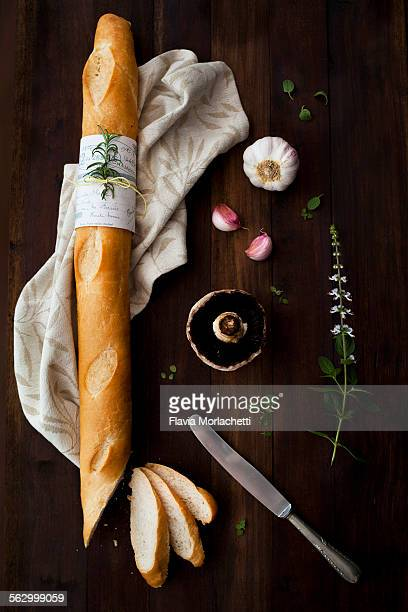 French baguette with garlic, mushroom and herbs