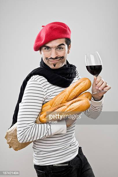 french baguettes and wine - baguette stock pictures, royalty-free photos & images