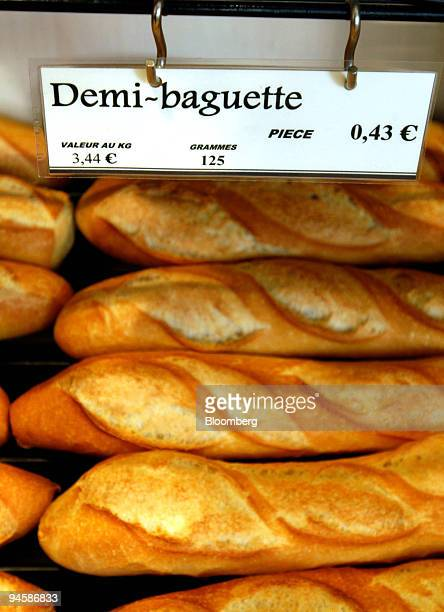 French baguettes are stacked on a shelf at a bakery in Paris France on Thursday Sept 13 2007 Wheat surpassed $9 a bushel for the first time yesterday...