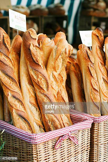 french baguettes at the market