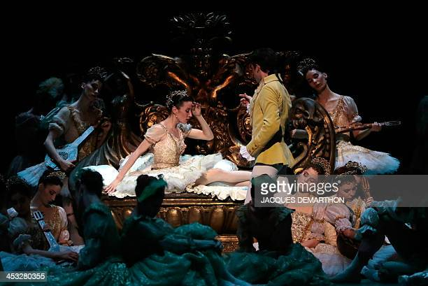French ballet dancer Josua Hoffalt performing Prince Desire and Argentine ballet dancer Ludmila Pagliero as Princess Aurore take part in a dress...