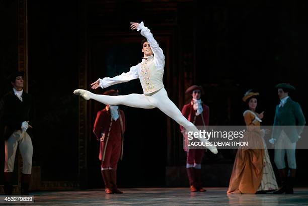 French ballet dancer Josua Hoffalt performing Prince Desire takes part in a dress rehearsal in act II of ''The Sleeping Beauty'' on December 2 2013...