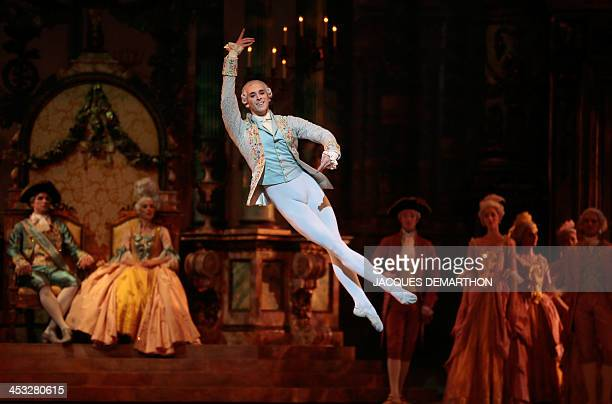 French ballet dancer Josua Hoffalt performing Prince Desire takes part in a dress rehearsal in act III of ''The Sleeping Beauty'' on December 2 2013...