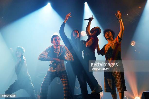French band Columbine performs onstage on December 7 2017 in SaintJacquesdelaLande outside Rennes as part of the 39th edition of the Trans Musicales...