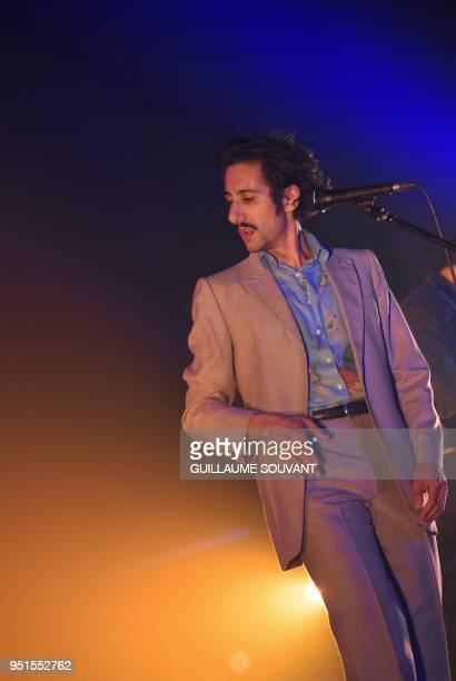 French band Feu Chatterton's singer Arthur Teboul sings as they perform during the 42nd edition of 'Le Printemps de Bourges' rock and pop music...