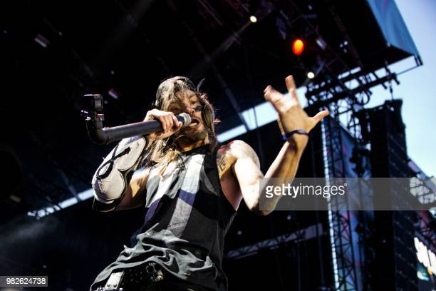 French band Shaka Ponk performs during a concert at the Solidays music festival on June 23, 2018 at the hippodrome de Longchamp in Paris.