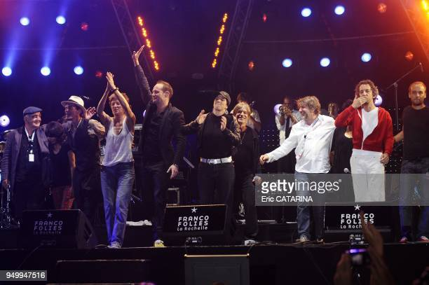 French band Tryo on stage with guests for the 25 th edition of the Francofolies de La Rochelle GuestsAlain Souchon Hubert Felix Thiefaine Maurane...