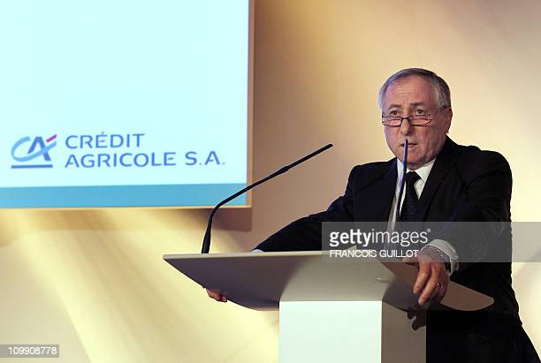 French bank Credit Agricole Chief Financial Officer Bertrand Badre speaks during a press conference on February 24, 2011 in Montrouge, outside Paris,...