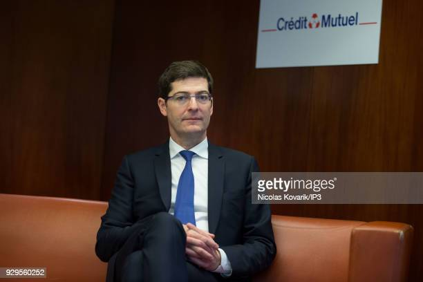 French bank group Credit Mutuel CEO Nicolas Thery attends a press conference to present the annual results on March 7 2018 in Paris France The group...