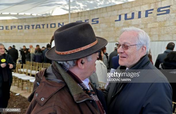 French banker David de Rothschild attends an event at the Roglit memorial in Neve Michael west of Jerusalem on January 23 as Israel hosts world...