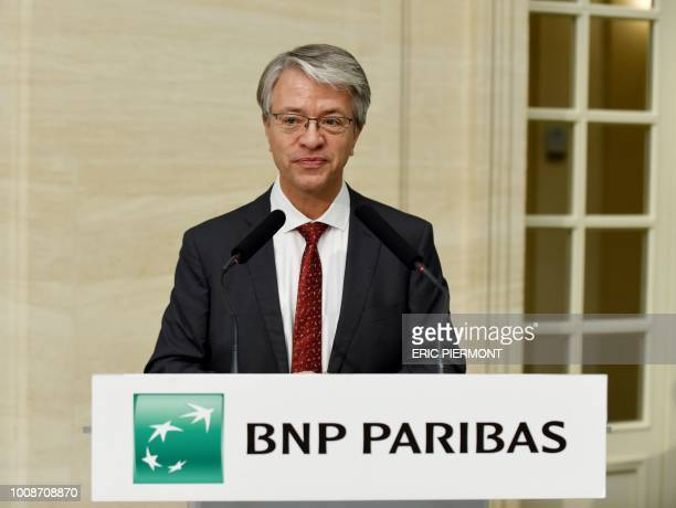 French banking giant BNP Paribas Director and Chief Executive Officer JeanLaurent Bonnafe presents the bank's results for the second quarter of 2018...