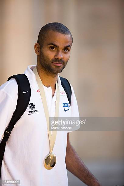 French basketball player Tony Parker leaves the Elysee presidential palace on September 23 2013 in Paris France France won the 2013 EuroBasket...