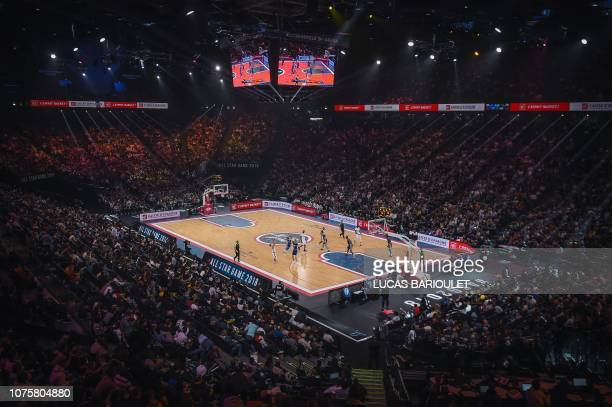French basketball players face foreign basketball players during an All Star Game basketball match of the French Ligue Nationale de Basket between a...