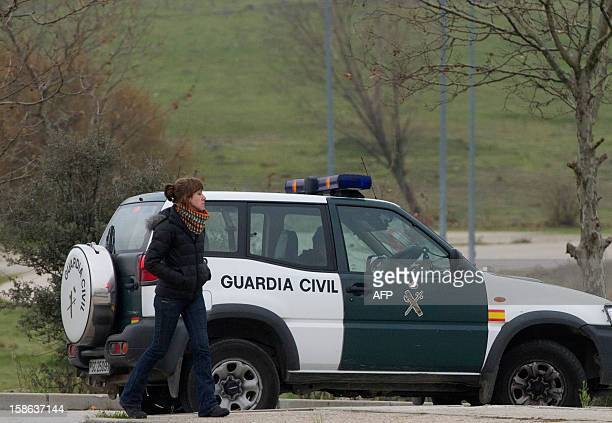 French Basque separatist activist Aurore Martin walks in front a Spanisn Guardia Civil car outside Soto del Real prison in Madrid after her release...