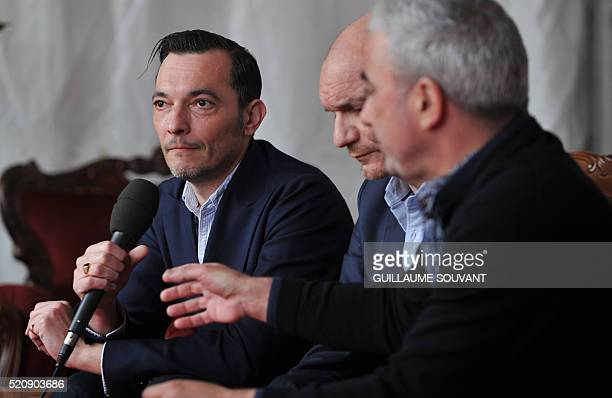 French bass player Robin Feix French singer Gaetan Roussel and French violonist and singer Arnaud Samuel of French band Louise Attaque speak during...