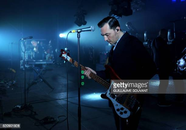 French bass player Robin Feix of French band Louise Attaque rehearses on stage during the 40th edition of Le Printemps de Bourges rock and pop music...