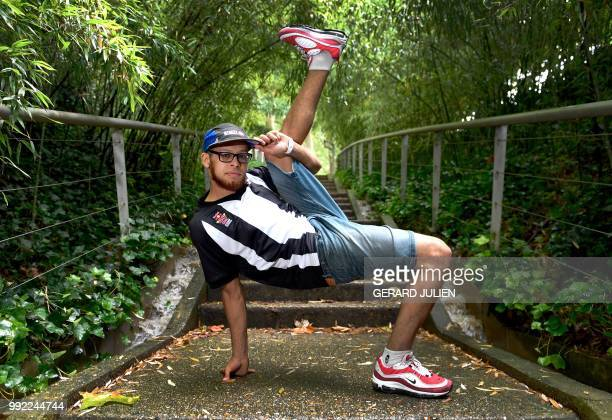 French Bboy breakdancer Ali Ramdani better known by his stage name Lilou poses during a photo session in the Parc de la Villette on July 5 2018 in...