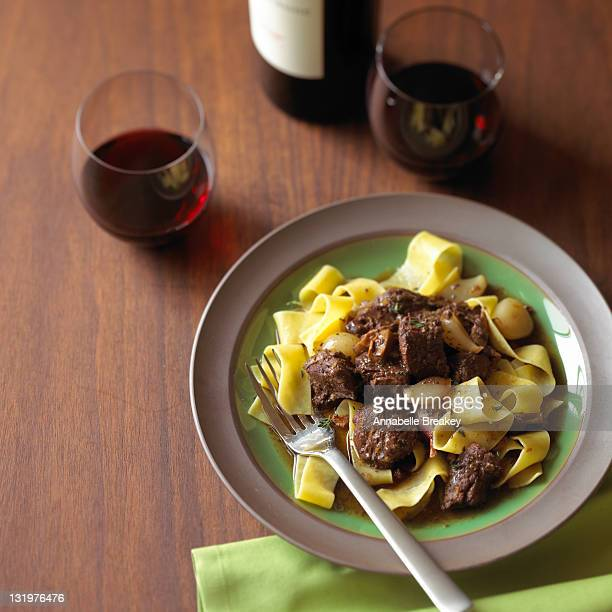 French Beef Stew over Noodles Entree with Red Wine