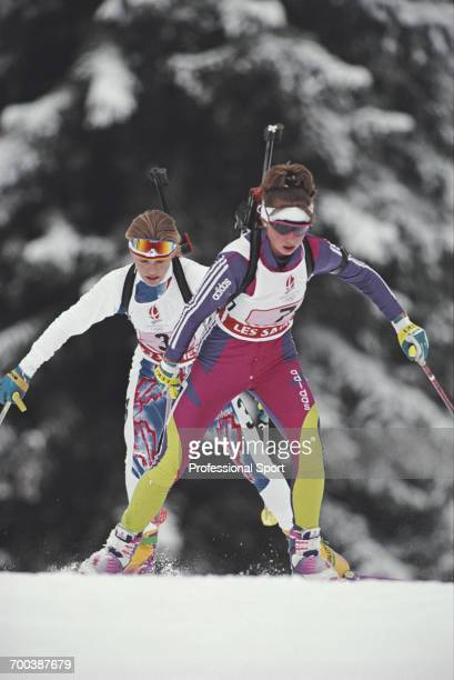 French biathlete Corinne Niogret competes for France to finish in first place to win the gold medal in the Women's relay biathlon event at the 1992...