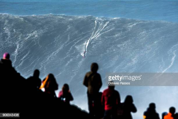 French big wave surfer Roland Pier drops a wave during a surf session at Praia do Norte on January 18 2018 in Nazare Portugal