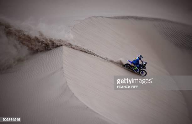 French biker Adrien Van Beveren powers his Yamaha during the 2018 Dakar Rally Stage 3 between Pisco and San Juan de Marcona in Peru, on January 8,...
