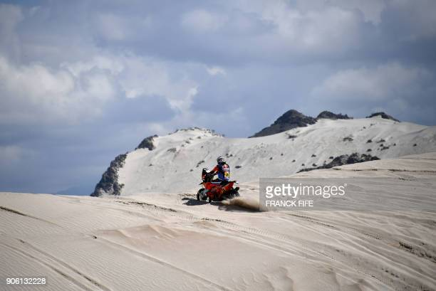 French biker Antoine Meo powers his KTM during the Stage 11 of the 2018 Dakar Rally between Belen and Chilecito in Argentina on January 17 2018 / AFP...