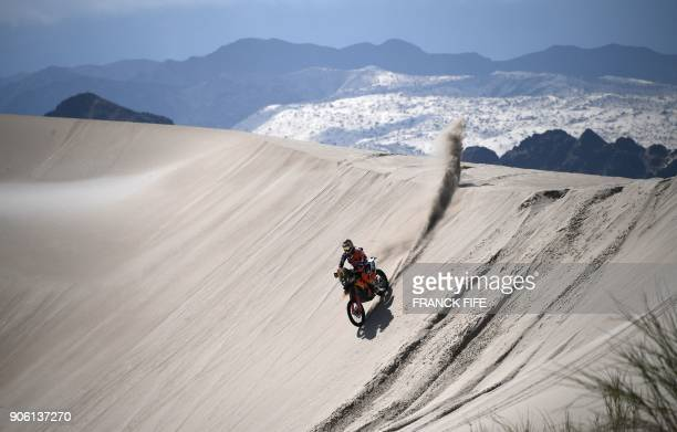 TOPSHOT French biker Antoine Meo powers his KTM during the Stage 11 of the 2018 Dakar Rally between Belen and Chilecito in Argentina on January 17...