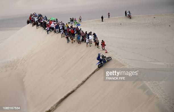 TOPSHOT French biker Xavier De Soultrait powers his Yamaha during the Stage 8 of the Dakar 2019 between San Juan de Marcona and Pisco Peru on January...