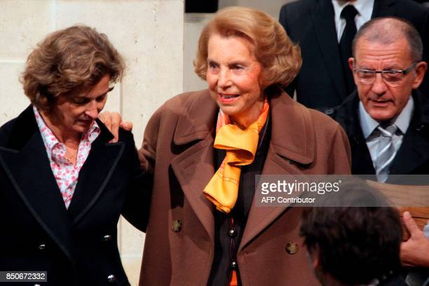 French Billionaire L'Oreal heiress Liliane Bettencourt arrives to attend the official entry ceremony of French journalist and former head of French...