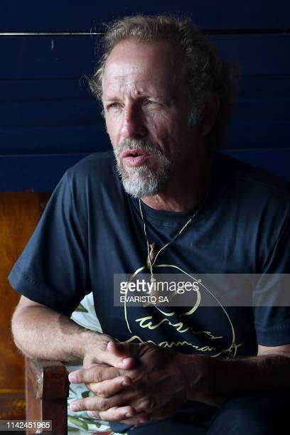 French bioacoustician and Michel Andre speaks during an interview with AFP at Uakari Floating Lodge located inside the Mamiraua Reserve Brazil's...