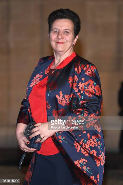 French biochemist Frederique Vidal attends a State dinner hosted by French President Emmanuel Macron and Brigitte Macron at the Elysee Palace on...