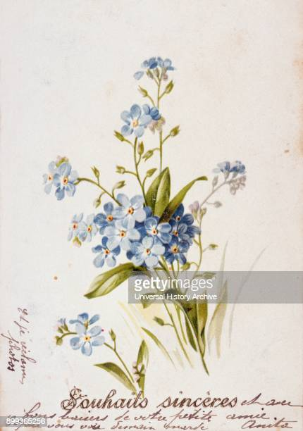 French birthday card with floral elements 1900