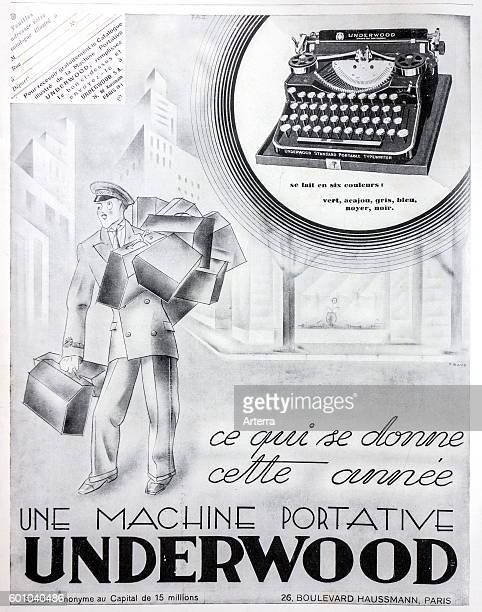 French blackandwhite vintage advertisement for American Underwood portable typewriters in magazine France