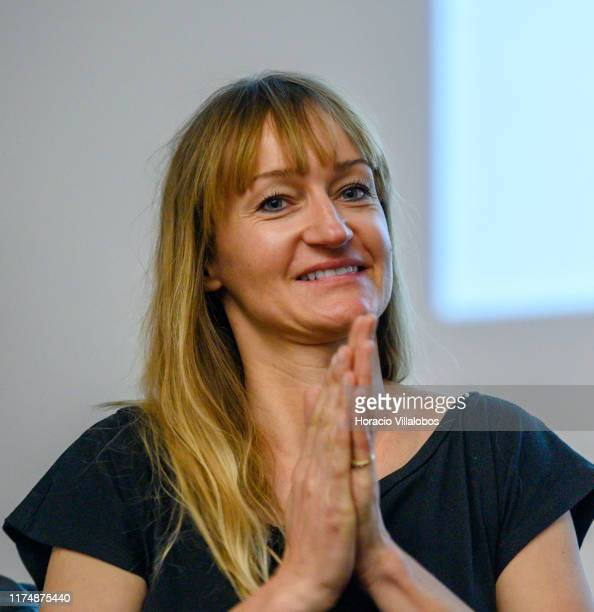 """French blogger and writer Bea Johnson who calls herself """"Mother of the zero waste lifestyle movement"""" smiles onstage before lecturing on Zero Waste..."""