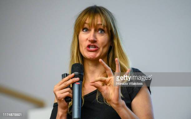 """French blogger and writer Bea Johnson who calls herself """"Mother of the zero waste lifestyle movement"""" gestures onstage while lecturing on Zero Waste..."""