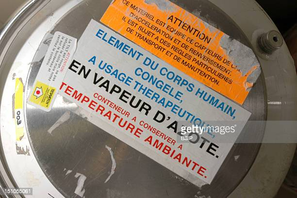 French Blood Bank In Bordeaux Blood Transfusion Center Container For Transporting Human Body Parts In Nitrogen Gas Stock Room For Cellular Therapy