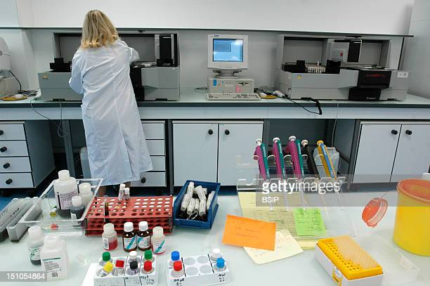 French Blood Bank In Bordeaux Transfusion Center Biological Qualifications Of Donation View Of Lab And Microplates