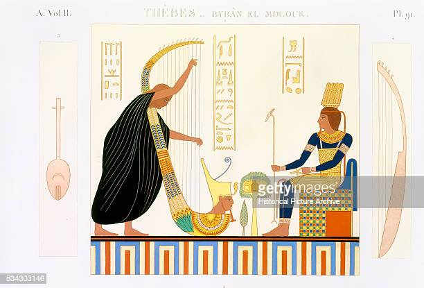 French Book Illustration Showing Fresco Painting from Room of the Harps in Thebes