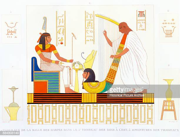 French Book Illustration Showing Fresco Tomb Painting from Room of the Harps in Thebes