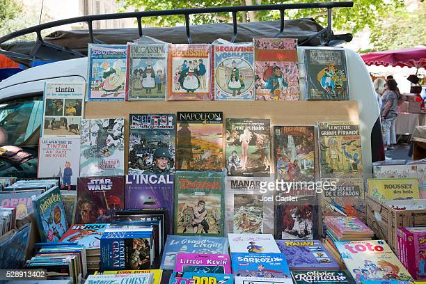 french books for sale at market in aix-en-provence - comic book stock pictures, royalty-free photos & images