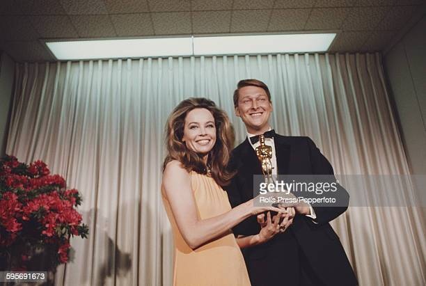 French born actress Leslie Caron pictured standing with German born film director Mike Nichols at the 40th Academy Awards at the Santa Monica Civic...