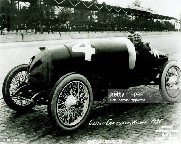 French born American racing driver Gaston Chevrolet pictured in the driver's seat of his MonroeFrontenac car to finish in 1st place to win the 8th...