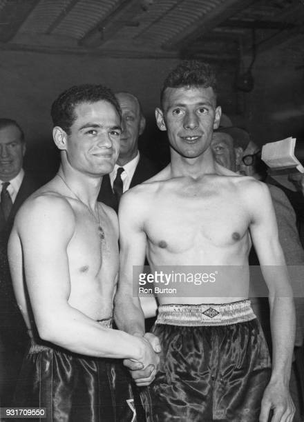 French boxer Alphonse Halimi at the weighin with Ulster's Jimmy Carson at Solomon's Gymnasium before their fight at the Harringay Arena in London 4th...
