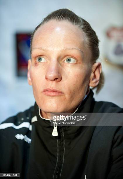 French boxer Anne Sophie Mathis answers questions during a press conference after her KO of New Mexico's Holly Holm in their fight for the IBA...