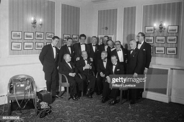 French boxer Georges Carpentier guest of honor at the National Sporting Club Dinner meets fellow boxers London UK 21st November 1960 Terry Downs...