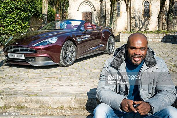 French boxer Jean-Marc Mormeck to test the Aston Martin Vanquish flying on February 05, 2015 in Gif-Sur-Yvette, France.