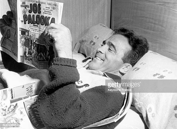 French boxer Marcel Cerdan having a break during his training before the match against Tony Zale on September 6 in Loch Sheldrake United States