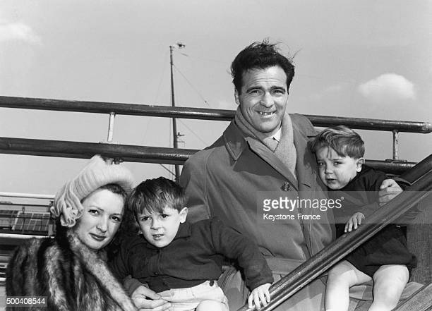 French boxer Marcel Cerdan with his wife Marinette Lopez and their sons Marcel Junior and Rene around 1947-1949 in New York, United States.