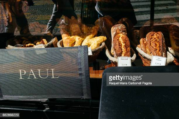 French bread on display in bakery